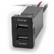 Разъем USB в штатную заглушку Carav 17-104 Toyota/Lexus / 2 порта: аудио + зарядное устройство