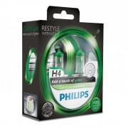 Лампа галогенная Philips H4 ColorVision Green, 3350K, 2шт/блистер 12342CVPGS2