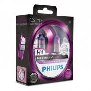 Лампа галогенная Philips H4 ColorVision Purple, 2шт/блистер 12342CVPPS2