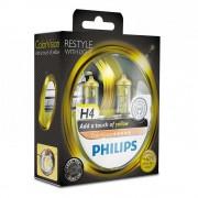 Лампа галогенная Philips H4 ColorVision Yellow, 2шт/блистер 12342CVPYS2